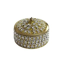 Angelic Brass Jewellery Box (7 cm x 7 cm x 5 cm, Golden)