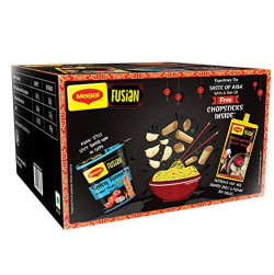 Maggi Fusian Assorted Pack - Asian Style Spicy Tomato Instant Cuppa Noodles (4x70g) and Chilli Garlic Chinese Sauce (2x85g), 450 g with Free Chopsticks