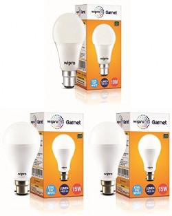 Wipro Garnet 15-Watt, 15-Watt, 10-Watt LED Bulb (Pack of 3, Cool Day Light)
