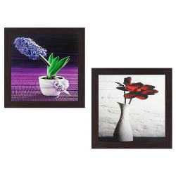Wens 'Flowers with Vase' UV Textured Wall Painting (Synthetic Wood, 35 cm x 71 cm x 2.5 cm, Brown, Set of 2)