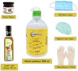 Apple Cider Vinegar 100ml And Honey 50g And 3 Ply Mask X 5 Pieces And Gloves X 5 Pair And Head