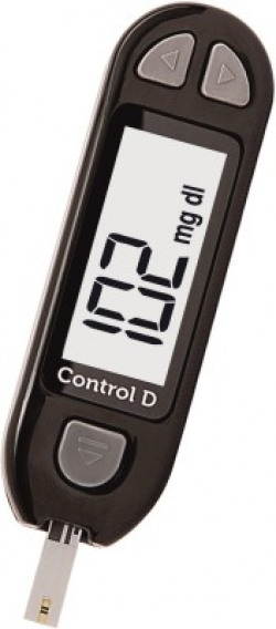 Control D Sugar Testing Monitor with 5 Strips Glucometer(Black)