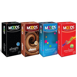 Moods Condoms Combo (Allnight - 12 Count, Choco - 12 Count, Melange - 12 Count, Absolute Xtasy - 12 Count)