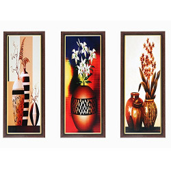 Wens Special Flowers with Pot MDF Wall Art (43 cm x 18 cm x 1 cm, Set of 3)