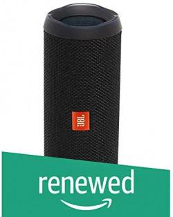 (Renewed) JBL Flip 4 Portable Wireless Speaker with Powerful Bass & Mic (Black)