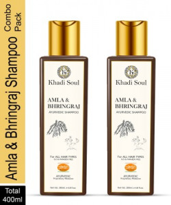 Khadi Soul Amla & Bhringraj Shampoo SLS & PARABEN FREE Combo Pack Men & Women(400 ml)