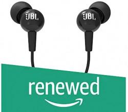Renewed) JBL C100SI in-Ear Headphones with Mic (Black)