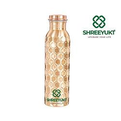 SHREEYUKT Handmade Diamond Cut Design Copper Water Bottle, 1 Litre