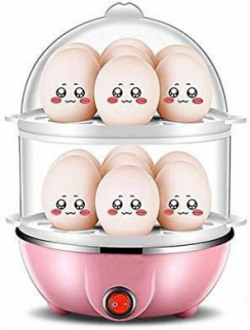 WDS ®Double Layer 14 Eggs Large Capacity Multifunction Egg Boilers ®Double Layer 14 Eggs Large Capacity Multifunction Egg Boilers Steamed Egg Custard Cooking Electric Egg Cooker Boiler with Stainless Steel Bowl Egg Cooker(Multicolor, 14 Eggs)