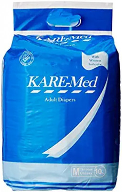 (Pantry) Kare Med Adult Unisex Diapers - 10 Count (Medium) Rs.265 @ Amazon