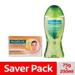 Palmolive Skin Therapy Soap Bar with Vitamin C & E – 75 gm with Palmolive Aroma Morning Tonic Shower Gel - 250ml