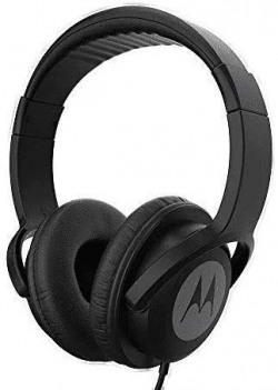 Motorola Pulse 100 Over Ear Wired Headphones with Alexa (Black)