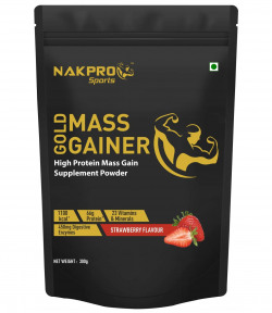 Nakpro Sports Gold Mass Gainer Protein Powder Supplement with Digestive Enzymes and Vitamin & Minerals - Strawberry (300G - 3 Servings)