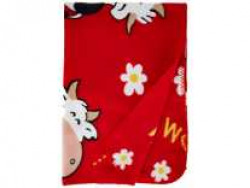 LuvLap Polar Fleece Baby Blanket, 70cm x 100cm, Red Cow Rs. 159 - Amazon