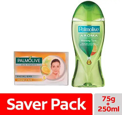 almolive Skin Therapy Soap Bar with Vitamin C & E – 75 gm with Palmolive Aroma Morning Tonic Shower Gel - 250ml
