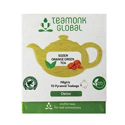 Teamonk Orange Green Tea, Long Leaf 10 Tea Bags