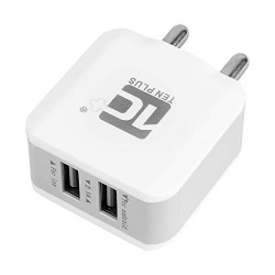 TEN PLUS TP-12 Fast USB Charger with Dual USB Port for iOS and Android, Wall Charger (Color: White)