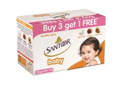 Santoor Baby Soap with Milk Cream, Saffron and Almond Oil, 125g (Buy 3 get 1 Free)