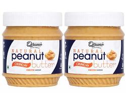 Diruno Natural Peanut Butter Crunchy 340gm (Unsweetened, Gluten Free, Non-GMO) Pack of 2
