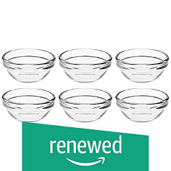 (Renewed) Amazon Brand - Solimo Glass Chutney Bowls Set (6 pieces, 75ml)