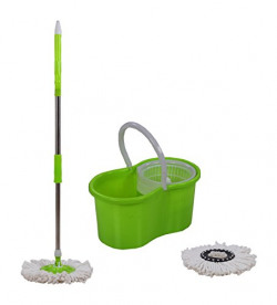 Esquire Plastic Mop Set with Bucket for Best 360 Degree Floor Cleaning (Green) 1 Extra Refill