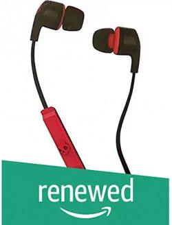 (Renewed) Skullcandy Smokin Bud 2 S2PGFY-010 in-Ear Headphones with Mic (Black and Red)