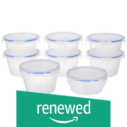 (Renewed) Amazon Brand - Solimo Plastic Kitchen Storage Container Set, 8-Pieces, Blue