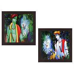 Wens 'Lord Krishna Modern Art' UV Textured Wall Painting (Synthetic Wood, 35 cm x 71 cm x 2.5 cm, Brown, Set of 2)