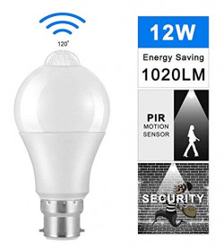 Hoteon Motion Sensor Light Bulb B22 12W, Automatic Activated by Movement Security LED Bulb Lamp for Front Door,Basement,Garage Stairs,Hallway, etc, (Pack of 1, 12W, Cool White Light)