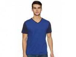 Amazon Brand - Symbol Men's Color Block Regular Fit Half Sleeve Cotton T-Shirt (SS19MNTAG03E_Blue Medium Melange_S) Rs. 211 - Amazon@211