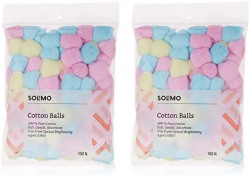 Amazon Brand - Solimo Cotton Balls, Coloured - 100 Units (Pack of 2) 34% off