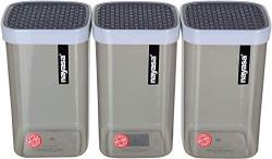 Nayasa Superplast Fusion Plastic Container Set, 1.5 litres, Set of 3, Grey