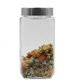 Soogo Glass Jar Set with Lid, 1 Litre, Transparent