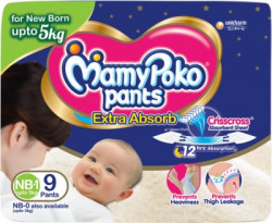 MamyPoko Pants Extra Absorb Diapers - New Born(9 Pieces)