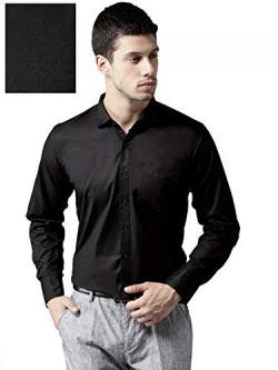 Dennison Men's Solid Regular Fit Formal Shirt (AW-18-256_Black_40)