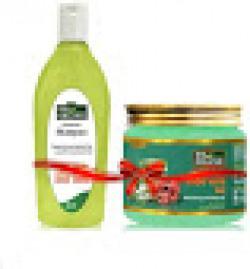 Indus Valley Bio Organic Growout Shampoo(200 ml) With Hair Reborn Aloe Vera Gel (175 ml) Pack of 2