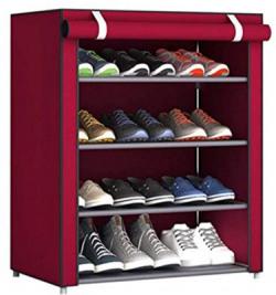 Sasimo 1-Door 4-Shelf Fabric Metal Collapsible Shoe Stand(Maroon, 4 Shelves)