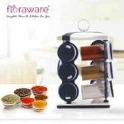 Floraware 12-Jar Revolving Spice Rack, Masala Box, Spice Box, Masala Rack, Trolley Rack (Blue)