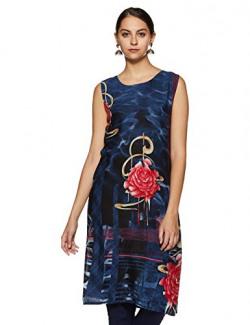 SOCH Women's Rayon Straight Kurta NC KT 4745-BLUE-RED_Blue_Large
