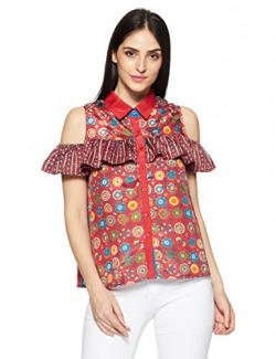 Akkriti by Pantaloons Women's A-Line Kurta (110031216003_Red_M)