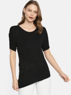 Pepe Jeans Casual Cuffed Sleeve Solid Women Black Top