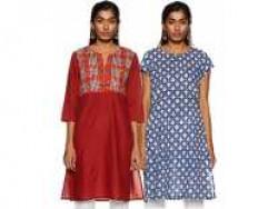 Amazon Brand - Myx Women's Cotton Straight Kurti (Combo Pack of 2) (AW18C1D1_Indigo and Rust_S) Rs. 292 - Amazon