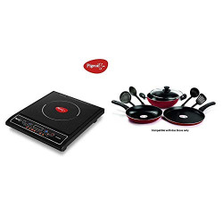 Pigeon by Stovekraft Cruise 1800-Watt Induction Cooktop (Black) & Mio Aluminium Gift Set, Red (8 Pieces) Combo