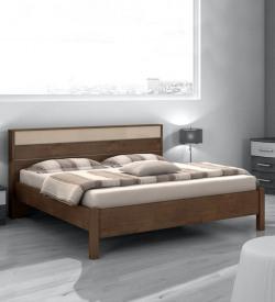 Valeria King Size Bed in Light Walnut Finish by Evok