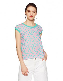 United Colors of Benetton Women's T-Shirt (16P1092D959AI_Pink and Blue902_Small)