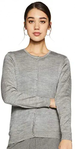 Qube By Fort Collins Women's Synthetic Cardigan (cardr02_M.Grey_M)