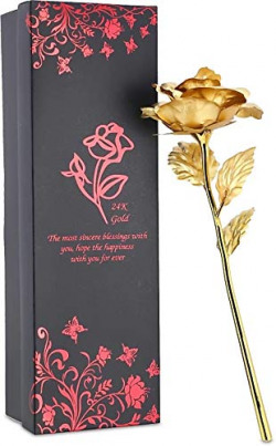 WebelKart Gold Color Rose with Gift Box and Authenticity Certificate- 10 in