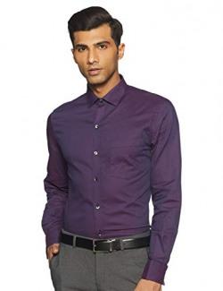 John Players Men's Solid Slim fit Formal Shirt (440936950007_Purple 38)