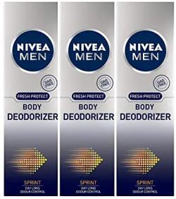 Nivea Men Body Deodorizer, Sprint, 120g (Pack of 3) 35% off