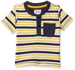 Donuts by Unlimited Baby Boys' Striped Regular Fit T-Shirt (400017525952_Yellow_12M)